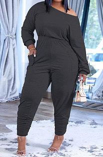 Black Fashion Preppy Cotton Long Sleeve Oblique Shoulder Loose Tops Skinny Pants Casual Sets H1743-3
