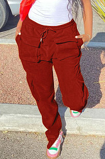 Red Modest New Double-Sided Velvet Solid Pocket Cargo Pants DN8637-2