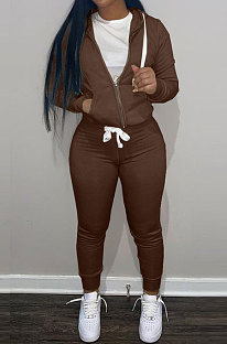 Coffee Wholesale Sports Women Long Sleeve Zipper Hoodie Bodycon Pants Solid Color Sets LML273-2