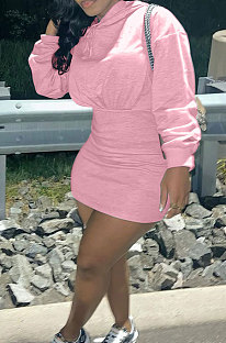 Pink Wholesale Cotton Preppy Long Sleeve Hoodie Mini Dress DN8639-2