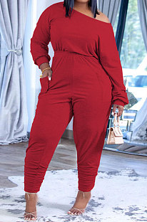Red Fashion Preppy Cotton Long Sleeve Oblique Shoulder Loose Tops Skinny Pants Casual Sets H1743 -1