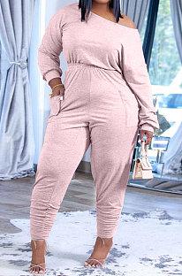 Pink Fashion Preppy Cotton Long Sleeve Oblique Shoulder Loose Tops Skinny Pants Casual Sets H1743-5