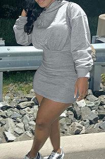 Grey Wholesale Cotton Preppy Long Sleeve Hoodie Mini Dress DN8639-1