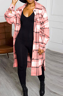 Pink New Luxe Plaid Woolen Cloth Long Sleeve Lapel Neck Single-Breasted Long Jacket Coat H1749-1