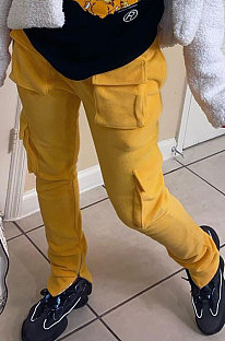 Yellow Modest New Double-Sided Velvet Solid Pocket Cargo Pants DN8637-1