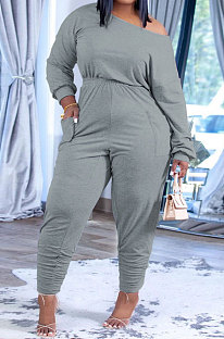 Light Grey Fashion Preppy Cotton Long Sleeve Oblique Shoulder Loose Tops Skinny Pants Casual Sets H1743-8