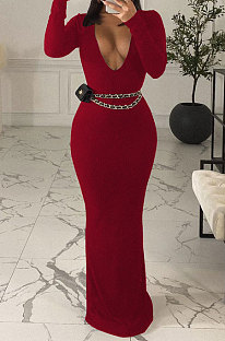 Wine Red Sexy Women's Ribber Long Sleeve Deep V Neck Collect Waist Plain Color For Party Maix Dress LY051-3