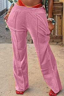 Pink Simple Luxe Velvet Pure Color Casual Wide Leg Pants DN8638-4
