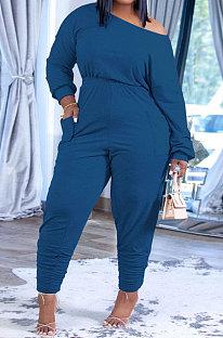 Blue Fashion Preppy Cotton Long Sleeve Oblique Shoulder Loose Tops Skinny Pants Casual Sets H1743-6