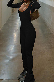 Black Luxe Casual Cotton Blend Long Sleeve U Neck Backless Collect Waist Jumpsuits DN8636-1