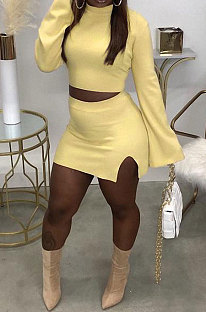 Light Yellow Fashion New Women's Long Sleeve O Collar Tops Split Skirts Solid Color Sets LY050-5