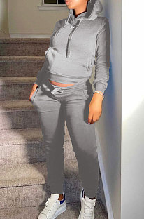 Grey Autumn Winter New Velvet Long Sleeve Hoodie Trousers Plain Color Sports Sets LML274-1