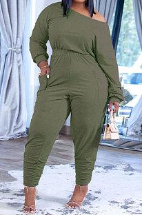 Light Green Fashion Preppy Cotton Long Sleeve Oblique Shoulder Loose Tops Skinny Pants Casual Sets H1743-7
