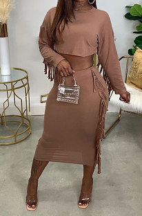 Brown Simple Women,s Preppy Long Sleeve Loose Tops High Waist Wrap Skirts Plain Color Tassel Sets H1750-3
