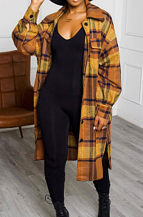 Yellow New Luxe Plaid Woolen Cloth Long Sleeve Lapel Neck Single-Breasted Long Jacket Coat H1749-2