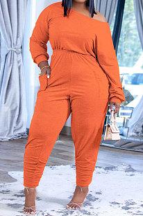 Orange Fashion Preppy Cotton Long Sleeve Oblique Shoulder Loose Tops Skinny Pants Casual Sets H1743-4