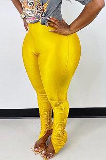 Yellow Modest New Pure Color Hem Slit Skinny Pants H1752