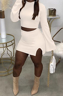 White Fashion New Women's Long Sleeve O Collar Tops Split Skirts Solid Color Sets LY050-1