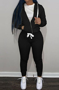 Black Wholesale Sports Women Long Sleeve Zipper Hoodie Bodycon Pants Solid Color Sets LML273-1