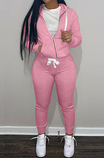 Pink Wholesale Sports Women Long Sleeve Zipper Hoodie Bodycon Pants Solid Color Sets LML273-6
