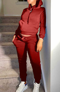 Red Autumn Winter New Velvet Long Sleeve Hoodie Trousers Plain Color Sports Sets LML274-8