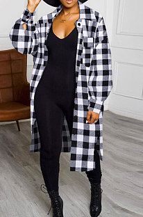 Grey New Luxe Plaid Woolen Cloth Long Sleeve Lapel Neck Single-Breasted Long Jacket Coat H1749-3