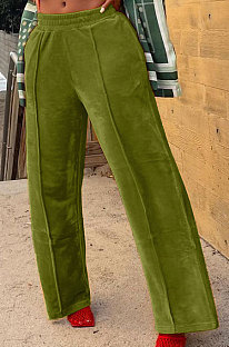 Green Simple Luxe Velvet Pure Color Casual Wide Leg Pants DN8638-5