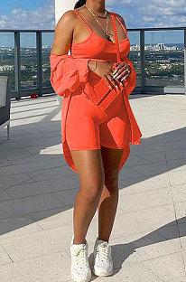 Orange Romantic Women's Condole Belt Tank&Long Sleeve Sunscreen Shirt Shorts Three Piece F88398-2