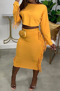 Yellow Simple Women,s Preppy Long Sleeve Loose Tops High Waist Wrap Skirts Plain Color Tassel Sets H1750-2