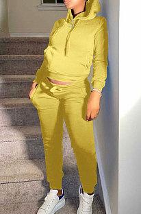 Yellow Autumn Winter New Velvet Long Sleeve Hoodie Trousers Plain Color Sports Sets LML274-3