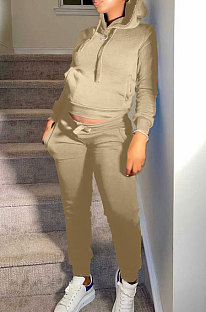 Khaki Autumn Winter New Velvet Long Sleeve Hoodie Trousers Plain Color Sports Sets LML274-5