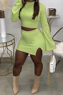 Light Green Fashion New Women's Long Sleeve O Collar Tops Split Skirts Solid Color Sets LY050-4