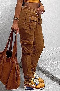 Brown Modest New Double-Sided Velvet Solid Pocket Cargo Pants DN8637-3