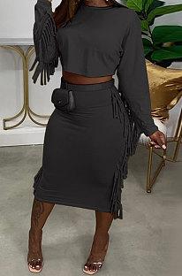 Black Simple Women,s Preppy Long Sleeve Loose Tops High Waist Wrap Skirts Plain Color Tassel Sets H1750-1