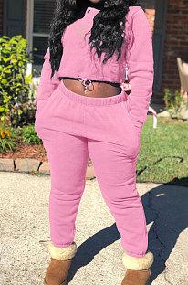 Pink Modest New Cotton Hoody Tops Jogger Pants Plain Color Sets DN8643-3