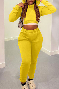 Yellow Casual Modest Long Sleeve Hoodie Tops Back Eyelet Bandage Jogger Pants Solid Color Sets LML278-7