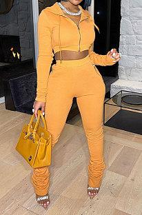 Yellow Women Pure Color Cardigan Hoodie Top Zipper Dew Waist Pants Sets LD81071-2