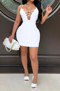 White Euramerican Backless Sexy Condole Belt Tied Hollow Out Mid Waist Tight Mini Dress WMZ2681-3