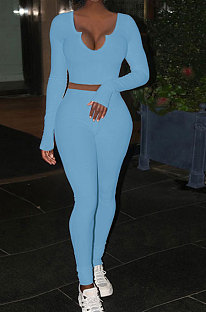 Sky Blue Women Ribber V Collar Long Sleeve Solid Color Bodycon Jumpsuits Pants Sets Q979-5