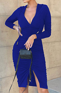 Blue Wholesale Casual Long Sleeve Deep V Neck Ruffle Slit Hooded Dress WY6854-3