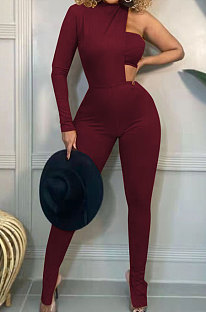 Wine Red Fashion Sexy Ribber Pure Color  Strapless&One Sleeve Tops Slit Skinny Pants Three Piece HH10011-3