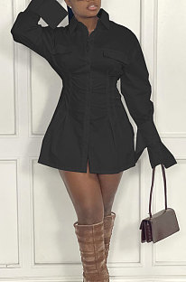 Black Fashion Preppy Pure Color Horn Sleeve Single-Breasted Collect Waist Shirts Dress WY6861-2
