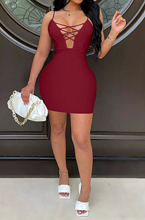 Wine Red Euramerican Backless Sexy Condole Belt Tied Hollow Out Mid Waist Tight Mini Dress WMZ2681-5
