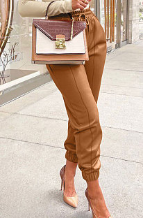 Brown Luxe Simple Pu Leather Casual Pencil Pants DN8642-1