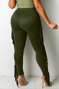 Army Green Women Fashion Solid Color Sexy Tassel Mid Waist Long Pants WMZ2683-3