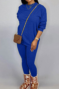 Blue Women Long Sleeve Round Collar Pure Color Pants Sets LD86311-4