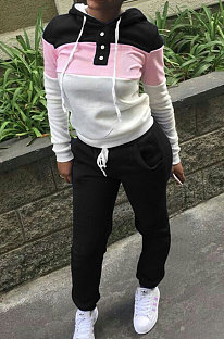 Black Casual  Preppy Thicken Spliced Long Sleeve Hoodie Tops Jogger Pants Sport Sets W8359-5