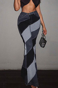 Grey Modest New Matching Color Spliced Flare Pants SZS1002-2