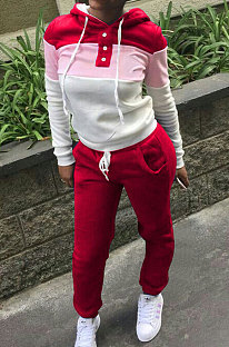 Red Casual  Preppy Thicken Spliced Long Sleeve Hoodie Tops Jogger Pants Sport Sets W8359-2