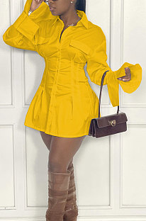 Yellow Fashion Preppy Pure Color Horn Sleeve Single-Breasted Collect Waist Shirts Dress WY6861-4